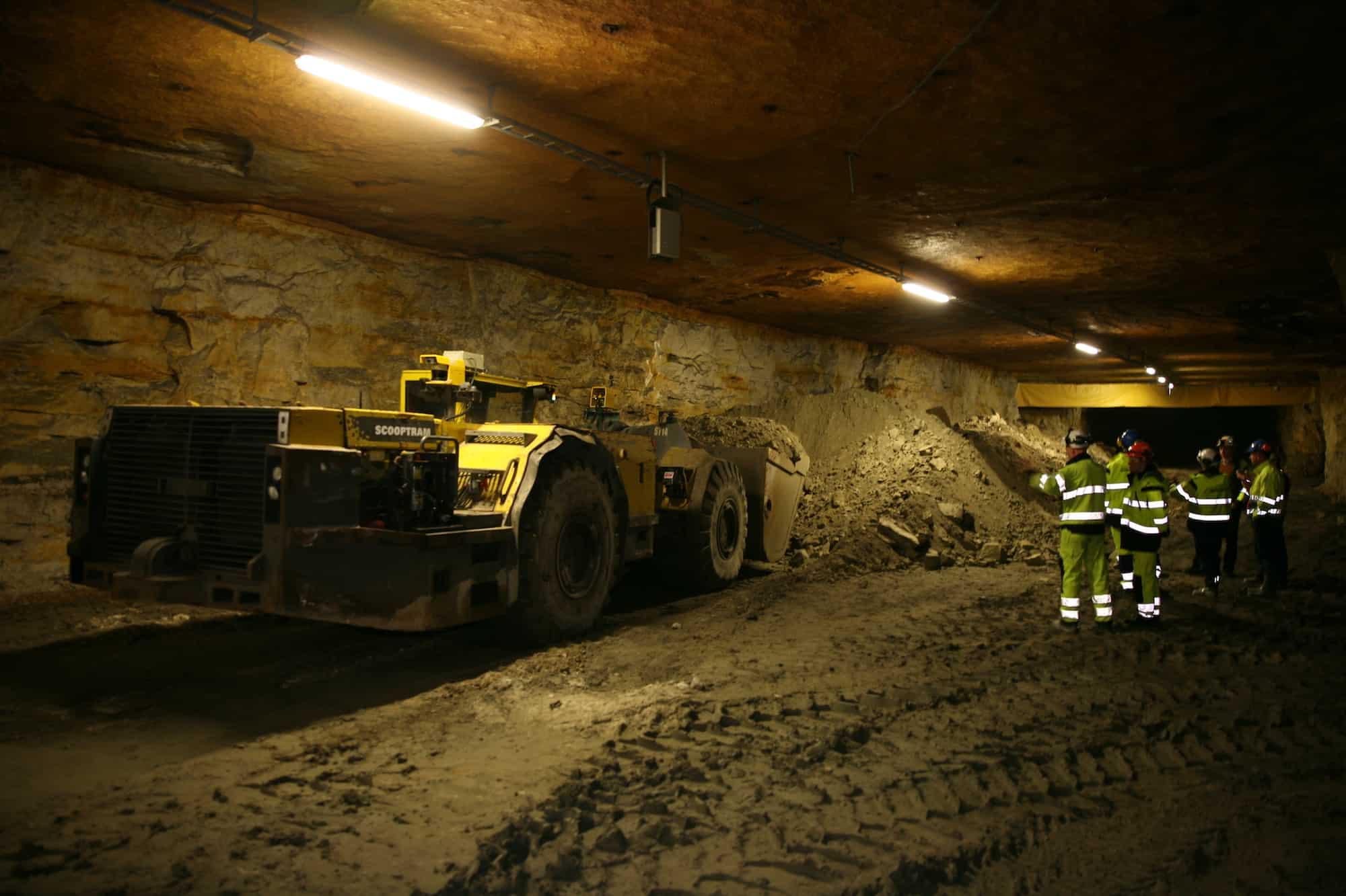 team at the mining